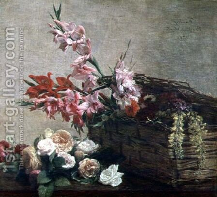 Gladioli and Roses by Ignace Henri Jean Fantin-Latour - Reproduction Oil Painting