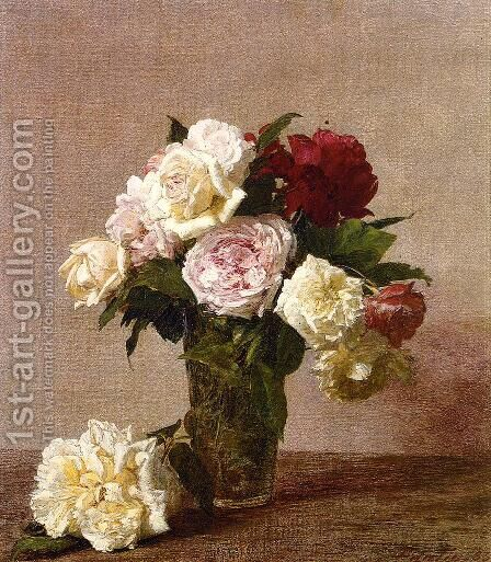 Roses 1885 by Ignace Henri Jean Fantin-Latour - Reproduction Oil Painting