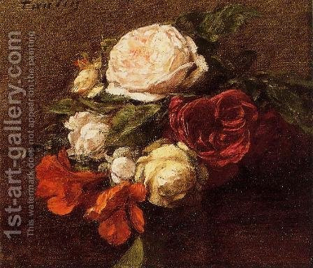Roses and Nasturtiums1 by Ignace Henri Jean Fantin-Latour - Reproduction Oil Painting