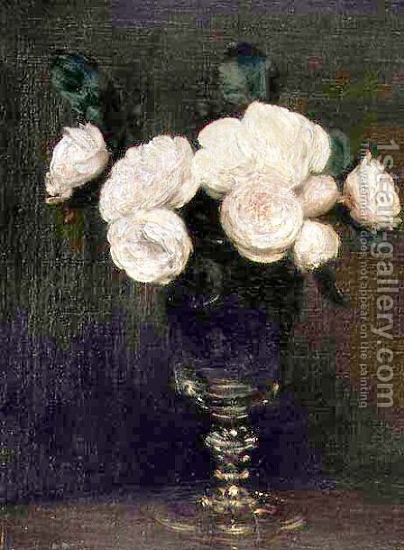 Still Life of Malmaison Roses by Ignace Henri Jean Fantin-Latour - Reproduction Oil Painting