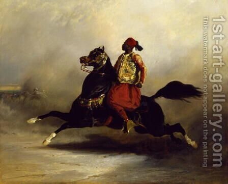 Nubian Horseman at the Gallop by Alfred Dedreux - Reproduction Oil Painting