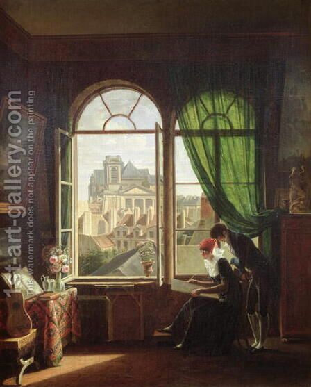 View of Saint Eustache Church from a House on Rue Platriere or The Artist's Interior 1810 by Martin Drolling - Reproduction Oil Painting