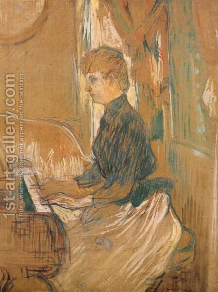 At the Piano Madame Juliette Pascal in the Drawing Room of the Chateau de Malrome 1896 by Toulouse-Lautrec - Reproduction Oil Painting