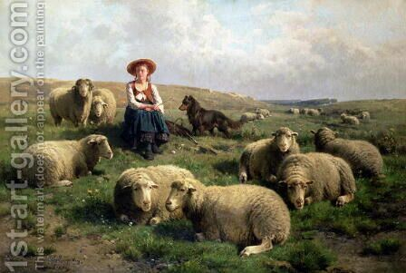 Shepherdess with Sheep in a Landscape by Cornelis van Leemputten - Reproduction Oil Painting