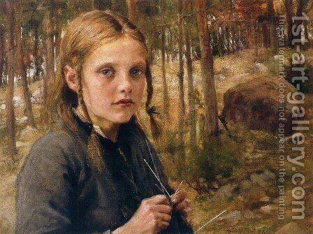 A Girl Knitting Socks by Albert Edelfelt - Reproduction Oil Painting