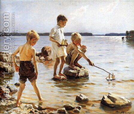 Boys Playing at the Beach by Albert Edelfelt - Reproduction Oil Painting