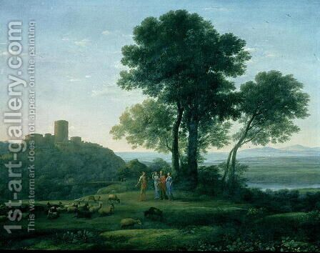 Jacob with Laban and his daughters by Claude Lorrain (Gellee) - Reproduction Oil Painting