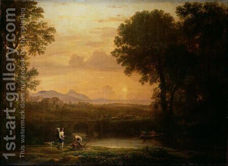 Landscape at Dusk by Claude Lorrain (Gellee) - Reproduction Oil Painting