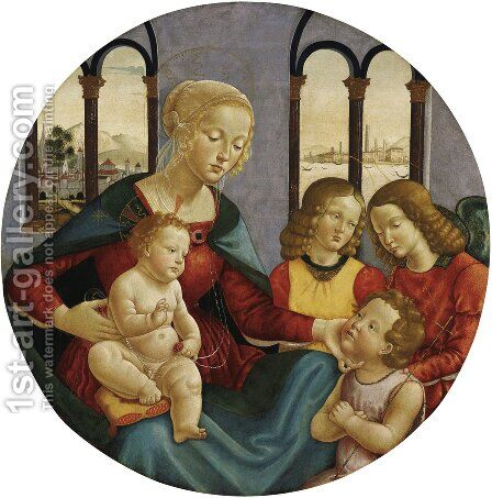 Madonna with Child the Young St John and Two Angels c 1500 by Bastiano Mainardi - Reproduction Oil Painting