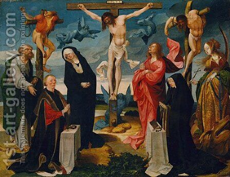 The Crucifixion with Donors and Saints Peter and Margaret ca 1525 by Cornelis Engelbrechtsen - Reproduction Oil Painting