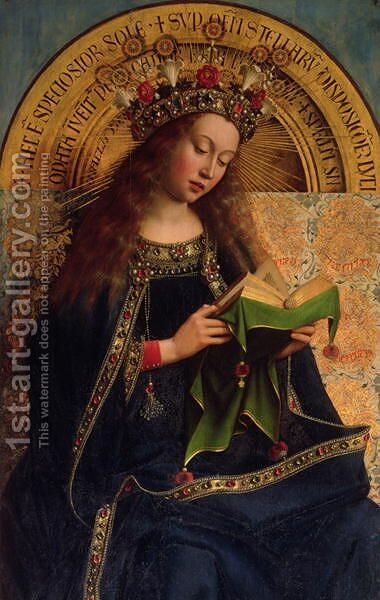 The Ghent Altarpiece The Virgin Mary 1432 by Hubert van Eyck - Reproduction Oil Painting