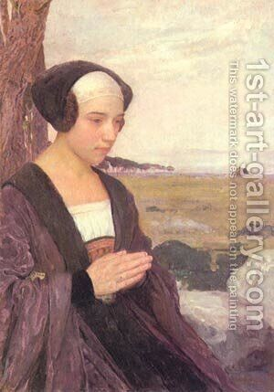 Breton Girl Praying by Contemporary Japanese - Reproduction Oil Painting