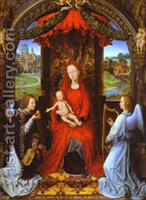 Madonna And Child With Two Angels by Hans Memling - Reproduction Oil Painting