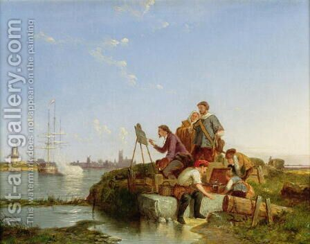 Artist at his Easel and Shipping beyond 1894 by Edouard Ferrer-Comas - Reproduction Oil Painting