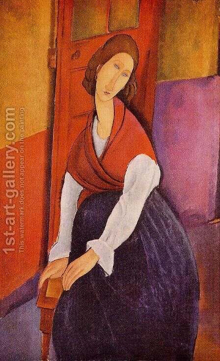 Jeanne Hebuterne (aka In Front of a Door) 1919 by Amedeo Modigliani - Reproduction Oil Painting