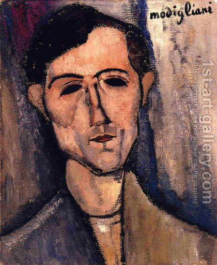 Man's Head (aka Portrait of a Poet) 1915 by Amedeo Modigliani - Reproduction Oil Painting