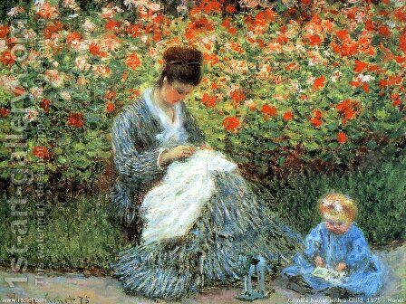 Camille Monet and a Child in Garden by Claude Oscar Monet - Reproduction Oil Painting