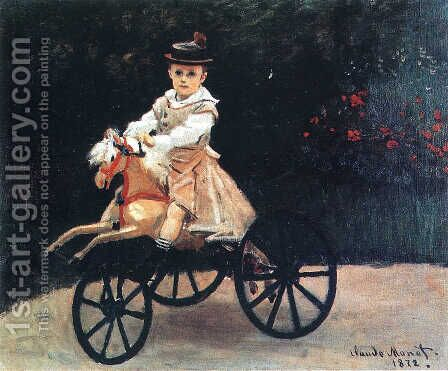 Jean Monet on His Hobby Horse 1872 by Claude Oscar Monet - Reproduction Oil Painting