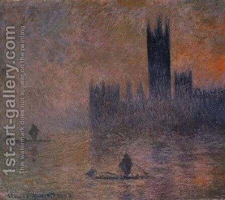 The Houses of Parliament (Effect of Fog) 1903 by Claude Oscar Monet - Reproduction Oil Painting