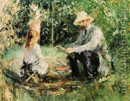 Eugene Manet and His Daughter in the Garden 1883 by Berthe Morisot - Reproduction Oil Painting