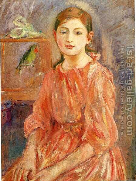 The Artists Daughter With A Parakeet 1890 by Berthe Morisot - Reproduction Oil Painting