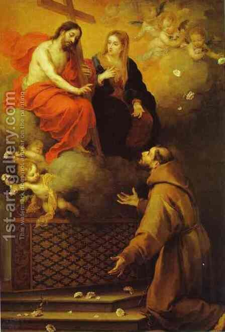 The Vision To St Francis At Porziuncola 1667 by Bartolome Esteban Murillo - Reproduction Oil Painting