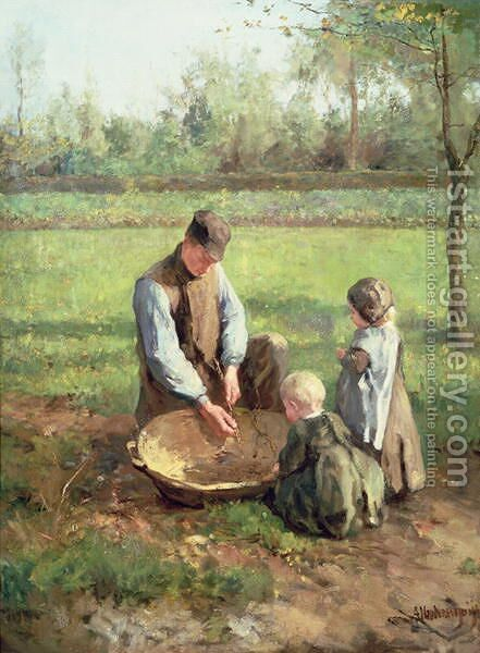 Watching father work by Albert Neuhuys - Reproduction Oil Painting