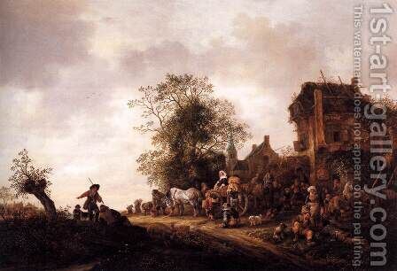 Travellers at a Country Inn 1645 by Adriaen Jansz. Van Ostade - Reproduction Oil Painting