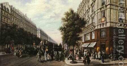 A Busy Paris Street by B. Pafset - Reproduction Oil Painting