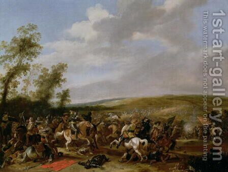 Battle Scene at Lutzen between King Gustavus Adolfus of Sweden against the Troops of Wallenstein 1632 by Anthonie Palamedesz. (Stevaerts, Stevens) - Reproduction Oil Painting