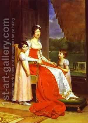 Marie Julie Bonaparte Queen Of Spain With Her Two Daughters by Baron Francois Gerard - Reproduction Oil Painting