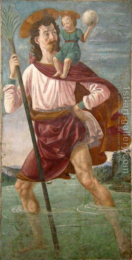 Saint Christopher and the Infant Christ by Domenico Ghirlandaio - Reproduction Oil Painting