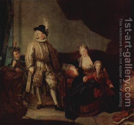 Portrait Of Baron Von Erlach With His Family 1711 by Antoine Pesne - Reproduction Oil Painting