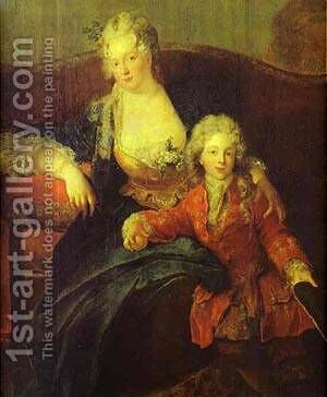 Portrait Of Baron Von Erlach With His Family Detail 1711 by Antoine Pesne - Reproduction Oil Painting