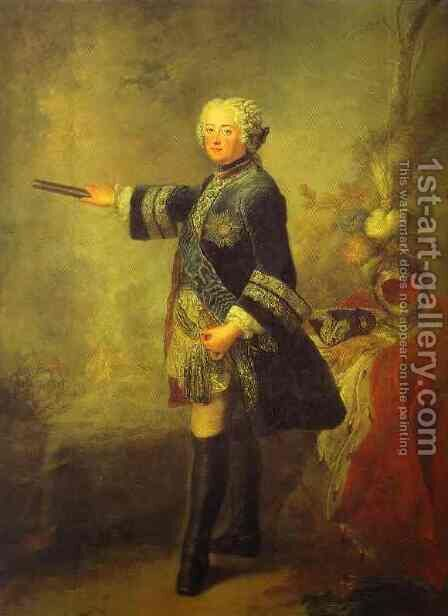 Portrait Of Frederick II 1743 by Antoine Pesne - Reproduction Oil Painting