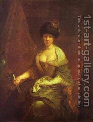 Portrait Of Maria Susanna Dinglinger 1721 by Antoine Pesne - Reproduction Oil Painting