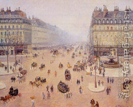 Avenue de l Opera Place du Thretre Francais Misty Weather 1898 by Camille Pissarro - Reproduction Oil Painting