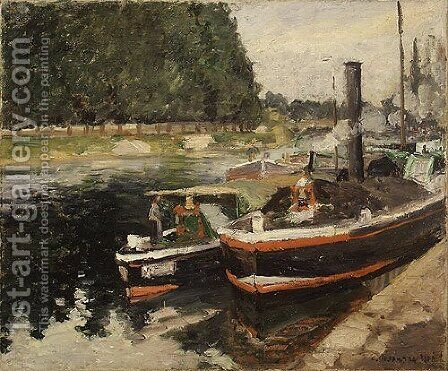 Barges at Pontoise 1876 by Camille Pissarro - Reproduction Oil Painting