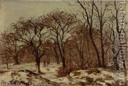 Chestnut Orchard in Winter 1872 by Camille Pissarro - Reproduction Oil Painting