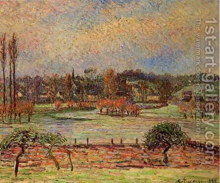 Flood Morning Effect Eragny 1892 by Camille Pissarro - Reproduction Oil Painting