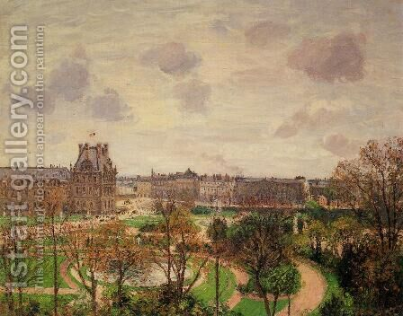 Garden of the Louvre Snow Effect 1899 by Camille Pissarro - Reproduction Oil Painting