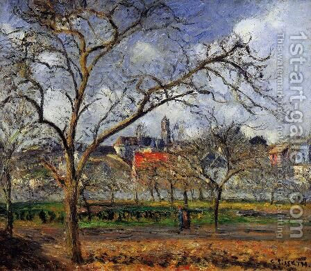 On Orchard in Pontoise in Winter  1877 by Camille Pissarro - Reproduction Oil Painting
