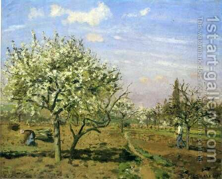 Orchard in Blossom Louveciennes 1872 by Camille Pissarro - Reproduction Oil Painting
