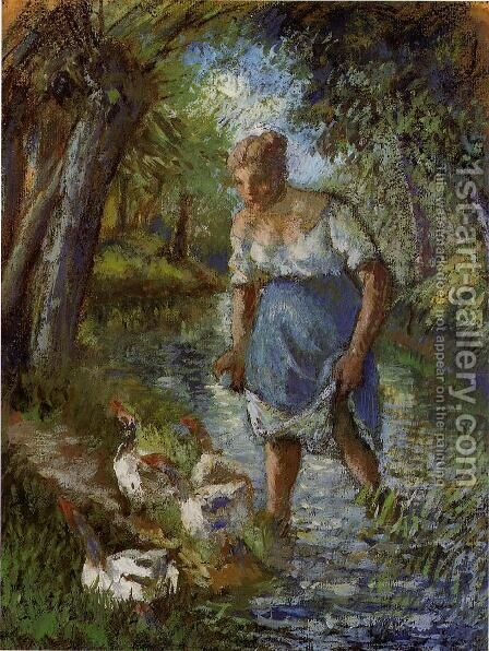 Peasant Crossing a Stream 1894 by Camille Pissarro - Reproduction Oil Painting
