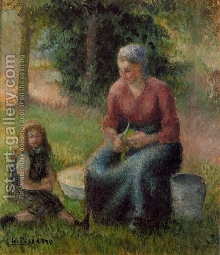 Peasant Woman and Her Daughter Eragny  1903 by Camille Pissarro - Reproduction Oil Painting