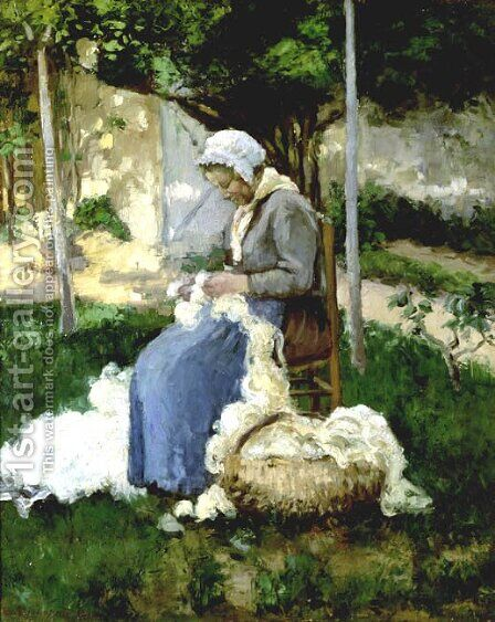 Peasant Woman Combing Wool by Camille Pissarro - Reproduction Oil Painting