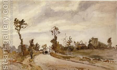 Road to Racquencourt  1871 by Camille Pissarro - Reproduction Oil Painting