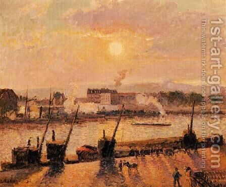 Sunset Rouen  1898 by Camille Pissarro - Reproduction Oil Painting