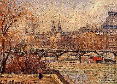 The Louvre Afternoon Rainy Weather  1900 by Camille Pissarro - Reproduction Oil Painting