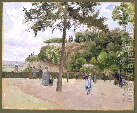 The Public Garden at Pontoise 1874 by Camille Pissarro - Reproduction Oil Painting